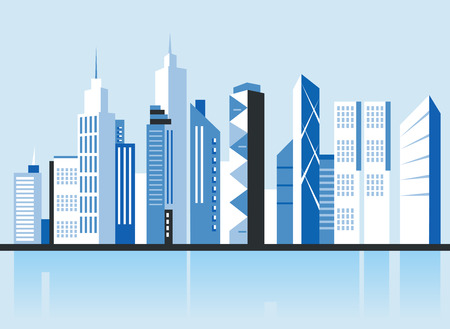 City downtown landscape. Skyscrapers in the city. Flat vector illustration. Business center. Geolocation area. Modern architecture. Vintage style. Vektorové ilustrace