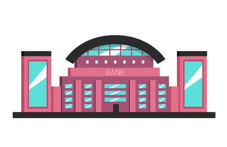 constructivism: Bank building. Flat vector illustration. Constructivism style. Modern architecture. Bright design Illustration