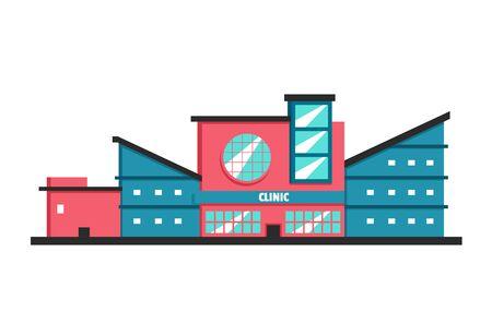 constructivism: Clinic building. Flat vector illustration. Constructivism style. Modern architecture. Bright design Illustration