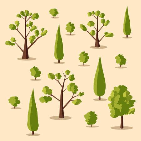 elements of nature: Set of trees. Cartoon vector illustration. Summer, spring nature Illustration