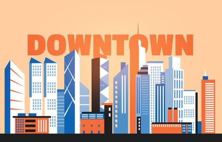midtown: City downtown landscape. Skyscrapers in the city. Flat vector illustration. Business center. Geolocation area. Modern architecture. Vintage style. Illustration