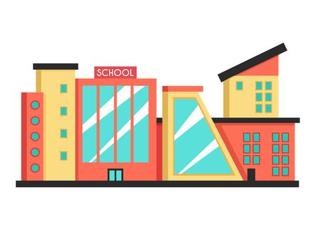 modern architecture: School building. Flat vector illustration. Constructivism style. Modern architecture. Bright design Illustration