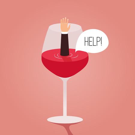 L'homme noyé dans le vin. vecteur Cartoon illustration. Métaphore. L'homme demande de l'aide