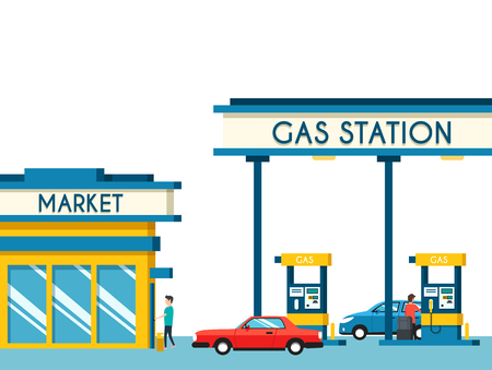 filling: Gas filling station. Energy. Vector flat illustration. Gasoline and oil station with market. Happy customers
