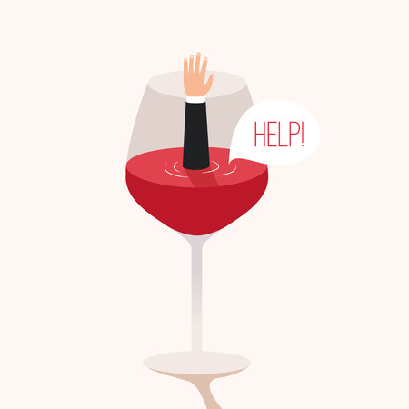 Man drowned in wine. Cartoon vector illustration. Metaphor. Man asks for help