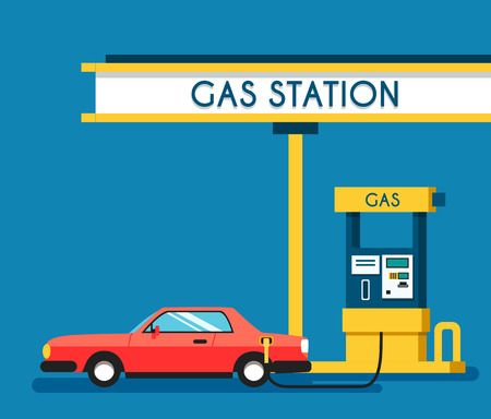 filling station: Gas filling station. Energy. Vector flat illustration. Gasoline and oil station. Happy customers