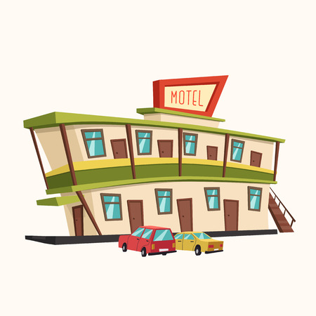 accommodation: Motel in the desert. Old signboard. Vector cartoon illustration. Parking. Historic building. House facade. Place to rest. Accommodation for tourists