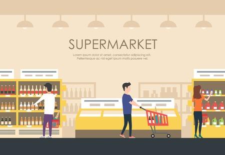 Mensen in de supermarkt. Vector flat illustratie. Mensen winkelen. Overdekte markt. Supermarkt