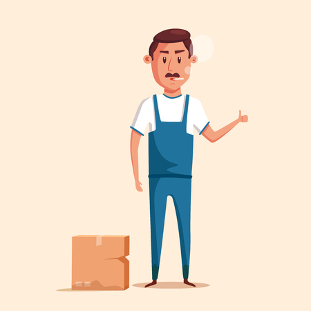 relocation: Bad worker in uniform. Cartoon vector illustration. Relocation. Move. Character design. Transport company. Box in hand. Angry loader