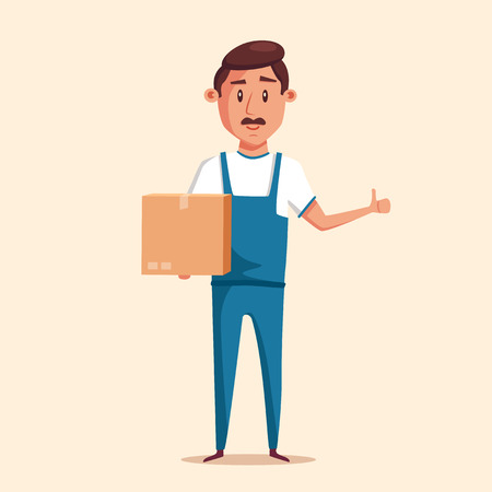 relocation: Good worker in uniform. Cartoon vector illustration. Relocation. Move. Character design. Transport company. Box in hand. Cute loader