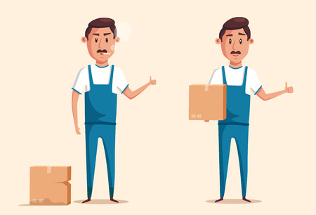 Good and bad workers in uniform. Cartoon vector illustration. Relocation. Move. Character design. Transport company. Box in hand. Cute loader Illustration