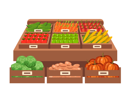 farm shop: Farm shop. Local stall market. Selling vegetables. Flat vector illustration. Isolated on white background. Fresh food