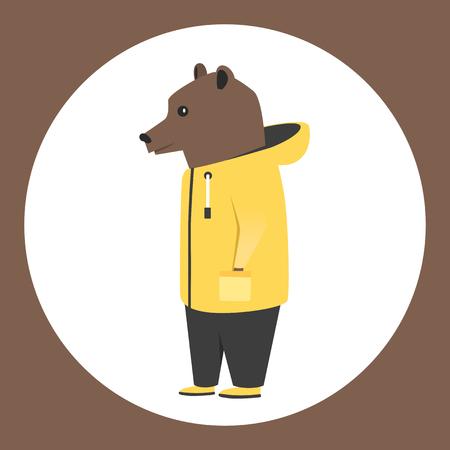 anthropomorphism: Animal in clothing. Casual style. Cartoon vector illustration. Anthropomorphism Bear Illustration