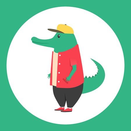 anthropomorphism: Animal in clothing. Casual style. Cartoon vector illustration. Anthropomorphism. Wildlife Crocodile
