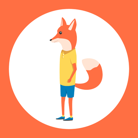 anthropomorphism: Animal in clothing. Casual style. Cartoon vector illustration. Anthropomorphism Fox Illustration