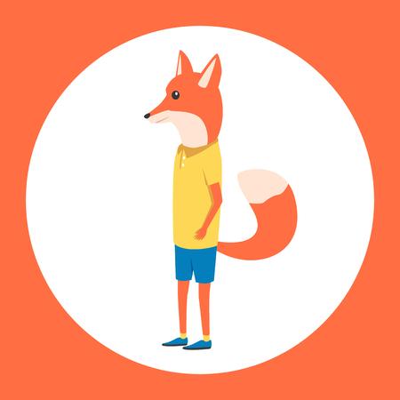 anthropomorphism: Animal in clothing. Casual style. Cartoon vector illustration. Anthropomorphism Fox Illustration