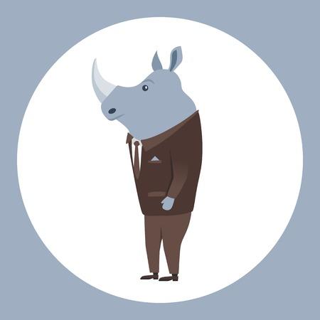 anthropomorphism: Animal in clothing. Casual style. Cartoon vector illustration. Anthropomorphism Rhino