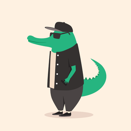 anthropomorphism: Animal in clothing. Casual style. Cartoon vector illustration. Anthropomorphism. Wildlife Crocodile