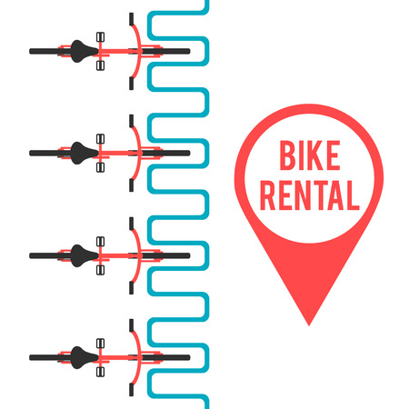 Bike rental. Flat vector illustration. Banner template on city bike hire. Pin of location bicycle Stock Illustratie