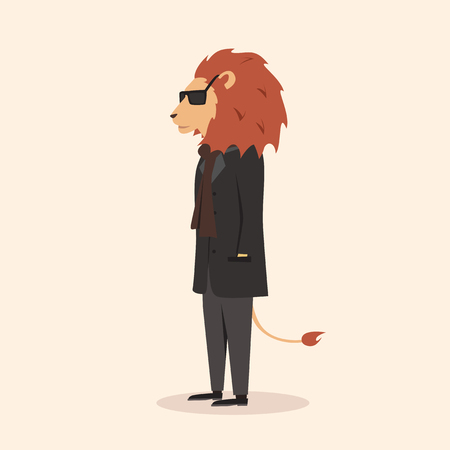 anthropomorphism: Animal in clothing. Casual style. Cartoon vector illustration. Anthropomorphism Lion
