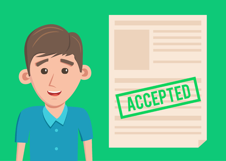 Accepted paper document. Cartoon Vector illustration. Happy man 向量圖像