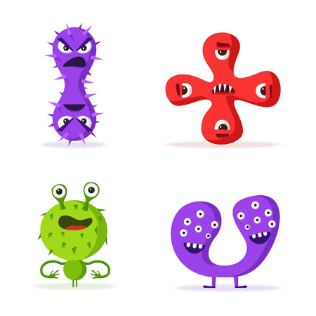 bacteria cartoon: Set of bacteria characters. Cartoon vector illustration. Microbiology. Isolated background. Funny monsters. Angry viruses