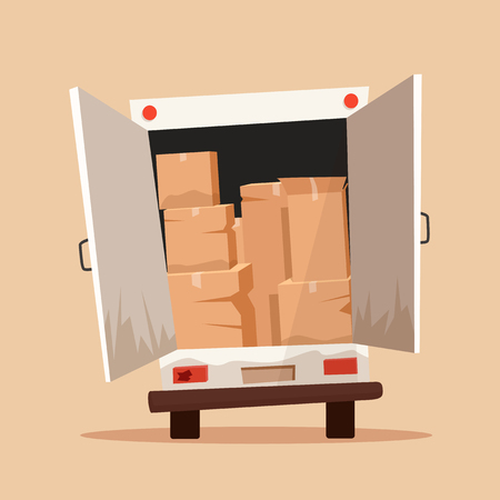 moving van: Moving with boxes. Boxes with things. Transport company. Service. Moving van. Cartoon vector illustration