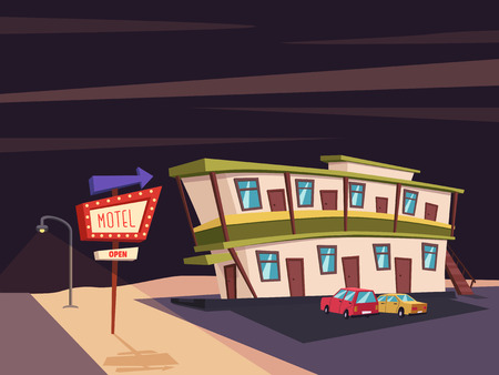 historic building: Motel in the desert. Old signboard. Vector cartoon illustration. Parking. Historic building. House facade. Place to rest. Accommodation for tourists