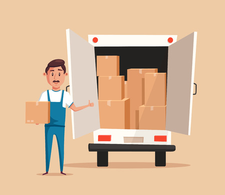 relocation: Good worker in uniform. Cartoon vector illustration. Relocation. Move. Character design. Transport company. Box in hand. Cute loader. Boxes with things. Moving service. Van