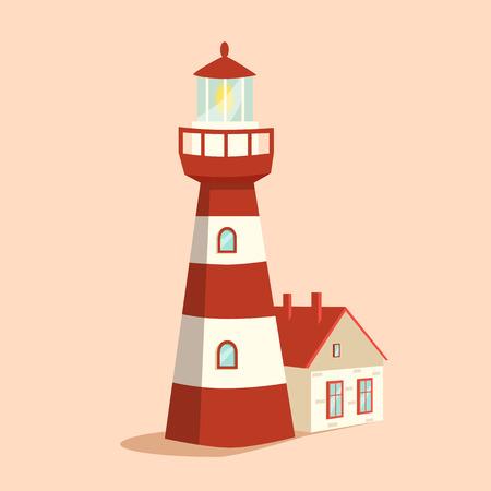navigational: Blue lighthouse. Cartoon vector illustration. Searchlight tower. Maritime navigational guidance