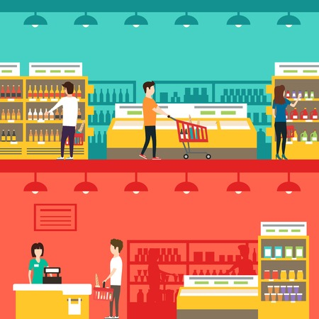 shopping people: People in supermarket. Vector flat illustration. People shopping. Indoor market. Grocery store