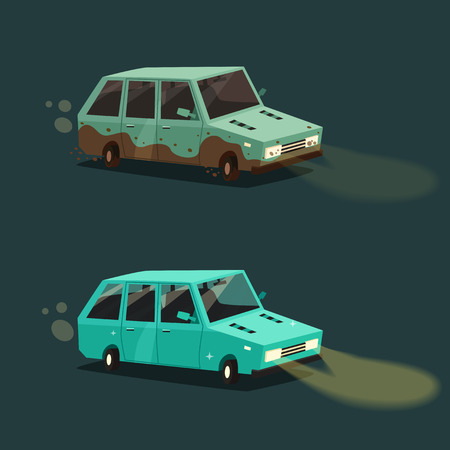 Dirty and clean car. American automobile. Cartoon vector illustration. Dirt and shining clean car isolated. Night road. Race.