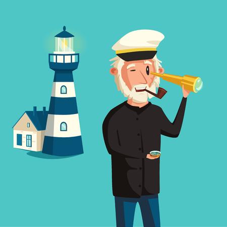 mariner: Sailor man character. Vector cartoon illustration. Old captain. Happy seaman. Vintage style Illustration