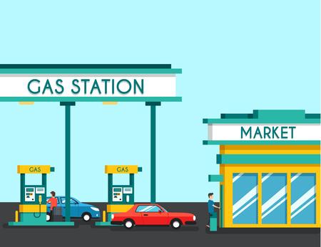 filling: Gas filling station. Illustration