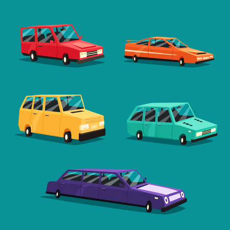 Set of vintage american automobile.