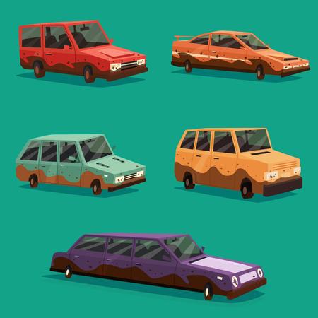 perilous: Set of dirty vintage american automobile.
