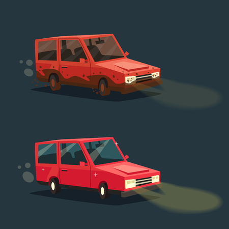 night road: Dirty and clean car. American automobile. Cartoon vector illustration. Dirt and shining clean car isolated. Night road. Race.
