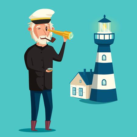 Sailor man character. Vector cartoon illustration. Old captain. Happy seaman. Vintage style Illustration