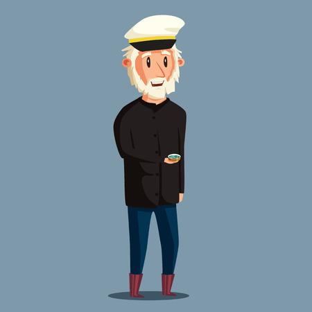 Sailor man character. Vector cartoon illustration. Old captain. Happy seaman. Vintage style Vector Illustration