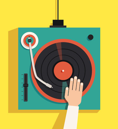 Turntable with dj hands. Vector flat illustration. Playing mixing music on vinyl turntable. Equipment deck and mixer. Retro style. sound and party. Modern music