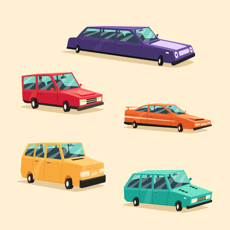 perilous: Set of vintage american automobile. Cartoon vector illustration. Car isolated. Design element. Illustration