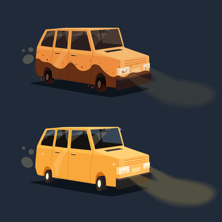 dirty car: Dirty and clean car. American automobile. Cartoon vector illustration. Dirt and shining clean car isolated. Night road. Race.