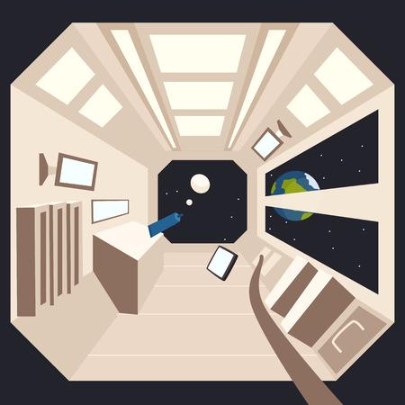zero gravity: Rocket in space. Vector cartoon illustration. Interstellar spaceship. Interior of spacecraft
