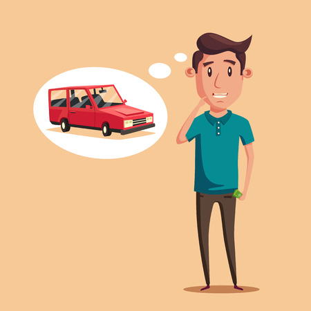vectro: Man thinking of choice. Money for spending. Vectro cartoon illustration. Character design. Cute person. Good idea.