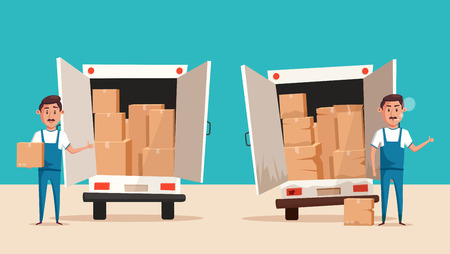 moving van: Good and bad workers in uniform. Moving with boxes. Boxes with things. Transport company. Service. Moving van. Cartoon vector illustration