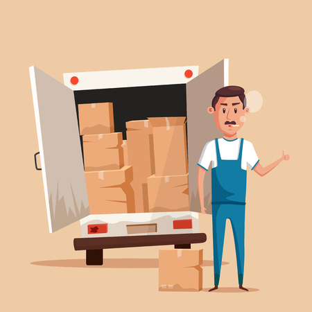 relocation: Bad worker in uniform. Cartoon vector illustration. Relocation. Move. Character design. Transport company. Box in hand. Cute loader. Boxes with things. Moving service. Van