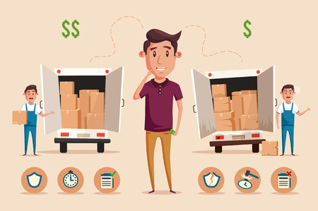 relocation: Man thinking of choice. Money for spending. Vectro cartoon illustration. Character design. Cute person. Good idea. Transport company. Relocation. Move. Boxes with things