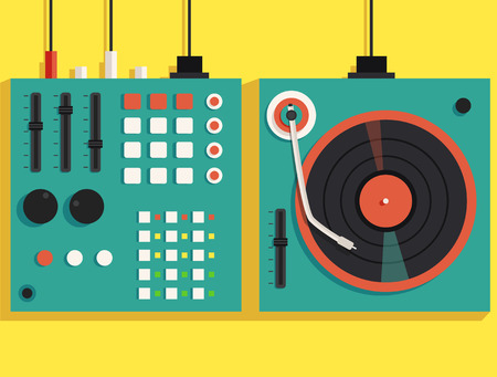 mixing: Playing mixing music on vinyl turntable. Vector flat illustration. Equipment deck and mixer. Retro style. sound and party. Modern music