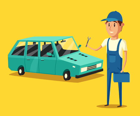 undercarriage: Car repair. Car service. Vector cartoon illustration. Mechanic repairs car in the garage. Broken car in auto repair shop. Funny mechanic. Professional worker. Illustration