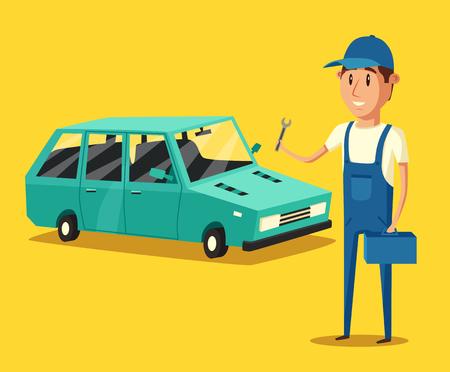 Car repair. Car service. Vector cartoon illustration. Mechanic repairs car in the garage. Broken car in auto repair shop. Funny mechanic. Professional worker. Illustration